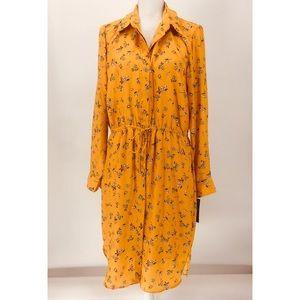 Lauren by Ralph Lauren Mustard Floral Shirt Dress
